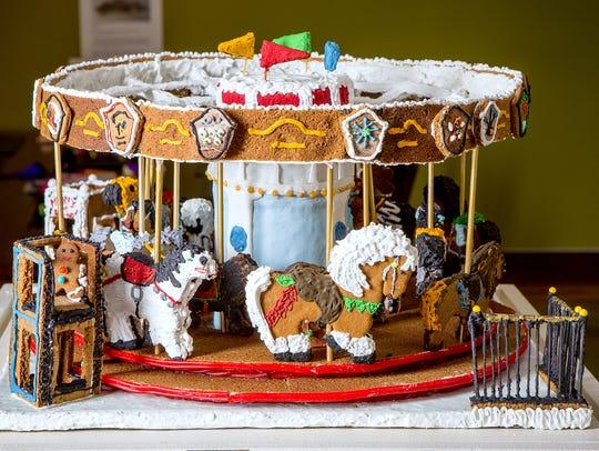 This gingerbread rendition of the Eldridge Park carousel,
