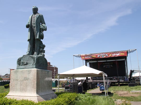 The statue of James A. Bradley watches over Asbury Park in this 2012 file photo before a concert.