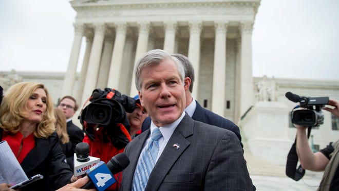 Former Virginia Gov. Bob McDonnell speaks outside the Supreme Court in Washington in this photo from April 27. Last Monday, the Supreme Court overturned the bribery conviction of McDonnell.