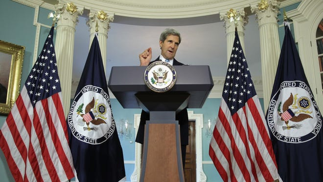 Secretary of State John Kerry makes a statement on Syria at the State Department Aug. 30, 2013, in Washington, D.C.