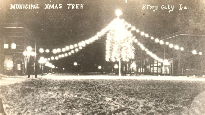 Story City has placed a Christmas tree in the middle of the street downtown since 1914.