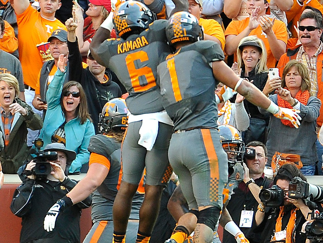Tennessee running back Alvin Kamara (6) celebrates his touchdown with Tennessee running back Jalen Hurd (1) on Oct. 10, 2015.