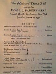 The program for Ignace Paderewski's program in Binghamton in 1930.