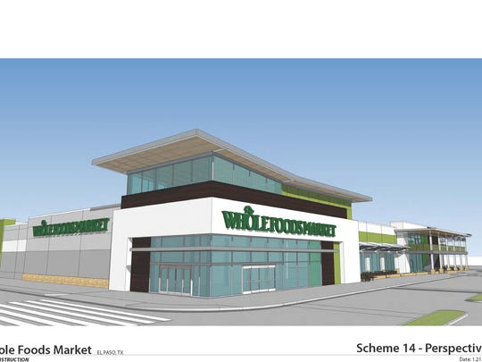 An architect's rendering of the Whole Foods Market store expected to open by the end of 2016 at Mesa and Pitt streets in West El Paso.