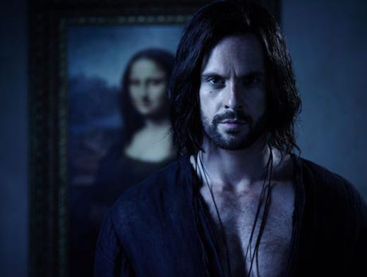 "Showing young Leonardo da Vinci (Tom Riley) with the 'Mona Lisa' he painted later in life is eyebrow-raising for sure, according to 'Da Vinci's Demons' creator David Goyer. However, this photo alludes to the fact that ""we may see a glimpse of the end of da Vinci's life next season,"" he says."