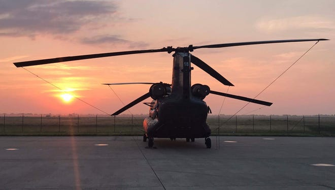 Five crew members and three other personnel took off in a Nevada Army Guard Chinook helicopter on Aug. 30, 2017 to help with emergency responder efforts in Houston, Texas.