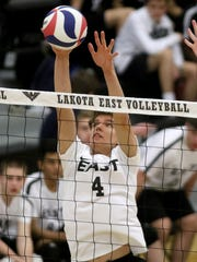 Lakota East's Josh Dubovec  blocks shot attempt during