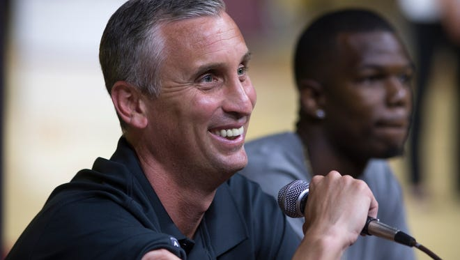 """ASU's men's basketball coach Bobby Hurley answers questions on June 18, 2015, during a """"Fan Conference"""" at Wells Fargo Arena in Tempe."""