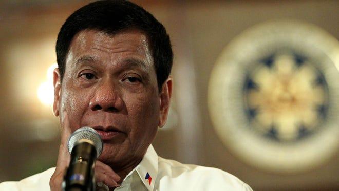 Filipino President Rodrigo Duterte speaking inside Malacanang presidential palace in Manila, Philippines.