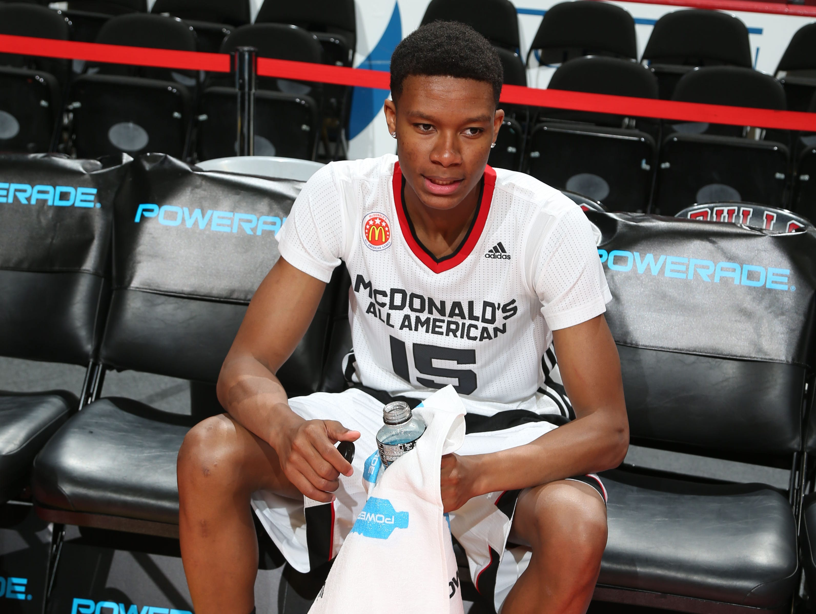 Apr 1, 2015; Chicago, IL, USA; McDonalds High School All American forward PJ Dozier (15) warms up before the start of the McDonalds High School All American Games at the United Center. Mandatory Credit: Brian Spurlock-USA TODAY Sports