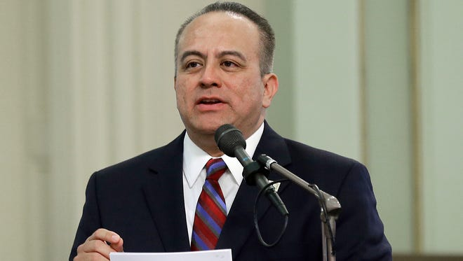 In this May 4 file photo, Assemblyman Raul Bocanegra, D-Los Angeles, speaks at the Capitol in Sacramento. Bocanegra is apologizing for sexually harassing a woman in 2009 when he was a legislative staff member.