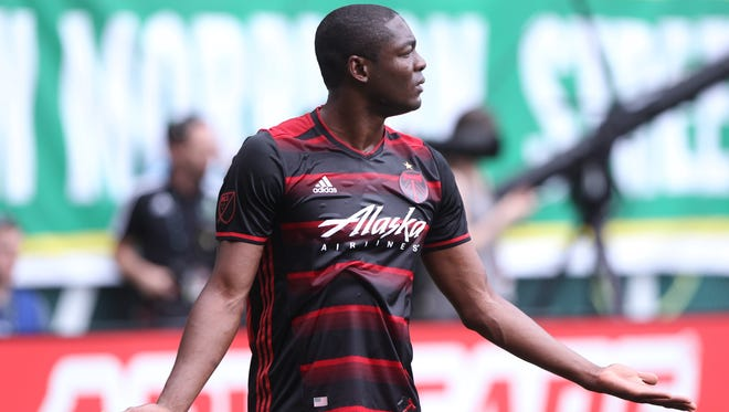Portland Timbers' Fanendo Adi appeals for a call during an MLS soccer game against the Los Angeles Galaxy on Saturday, July 23, 2016, in Portland, Ore.