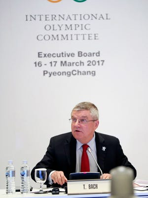 International Olympic Committee (IOC) President Thomas Bach speaks during a meeting of the IOC's Executive Board at the Alpensia Convention Center in Pyeongchang.