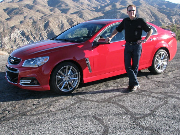 David Leone, executive chief engineer for performance luxury vehicles, shows the Chevrolet SS, made by GM's Holden unit in Australia, in the hills above Palm Springs, Calif.