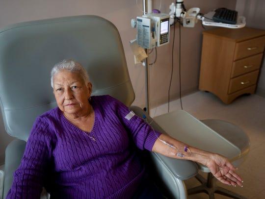 Augusta Thomas, 83, undergoes chemotherapy at the Norton