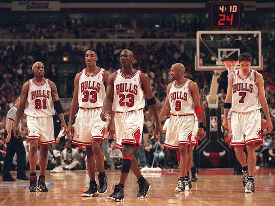 Dennis Rodman, Scottie Pippen, Michael Jordan, Ron Harper and Toni Kukoc were big parts of Chicago Bulls teams that won three straight NBA titles from 1996 to 1998.