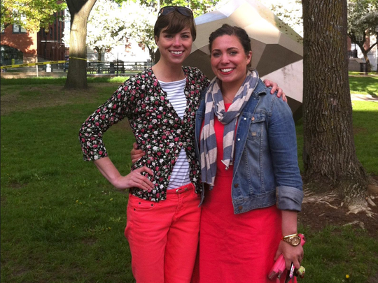 Emily with her sister Sara, who was also a standout swimmer and suffered from an eating disorder
