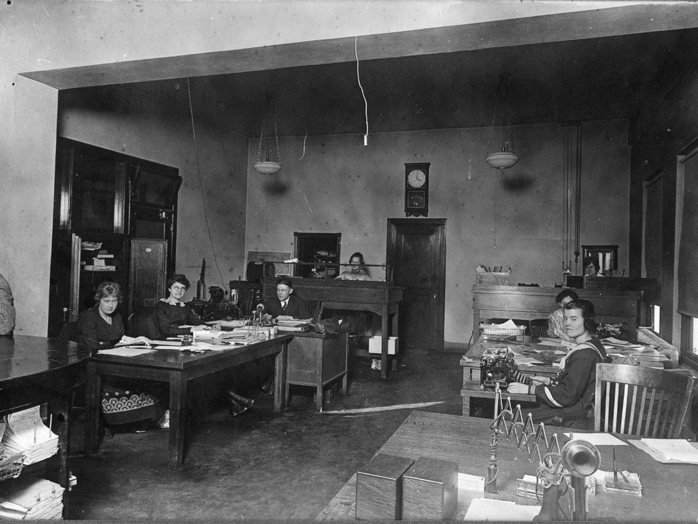 Staff work inside the offices at Meadow Gold in Great