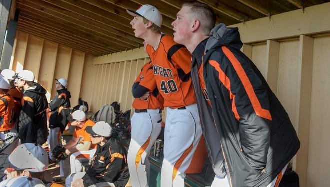 Jason Groome (right), shown in the Barnegat dugout with his teammates last week, will miss the next several weeks when the NJSIAA declared him ineligible on Thursday.