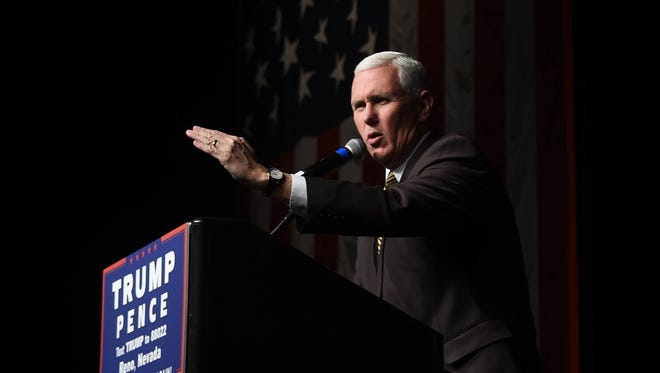 Mike Pence speaks at a rally in the Grand Sierra Resort in Reno on Oct. 26, 2016