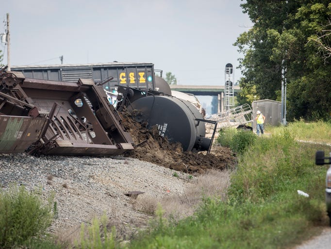 A train derailed near North Old State Road 3 and East