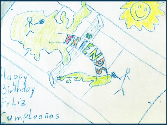 A drawing made by a Cuban kid who participated in Kids on the Ball-Cuba. The drawing represents the friendship between Cuban and U.S. tennis players.
