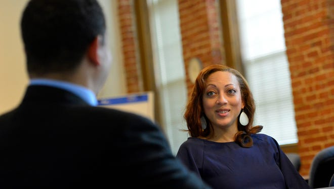 York businesswoman Angela Huyghue, owner of One on 1, is featured in celebration of Black History Month, Monday Feb. 29, 2016. John A. Pavoncello photo