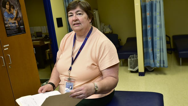 Chambersburg Area Senior High School nurse Donna Rock sits in the school's health clinic on Thursday, May 26, 2016.