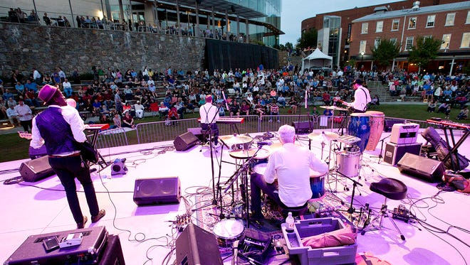 Fall for Greenville Kickoff concert at the Peace Center Amphitheater with music provided by the Nathan Angelio band.