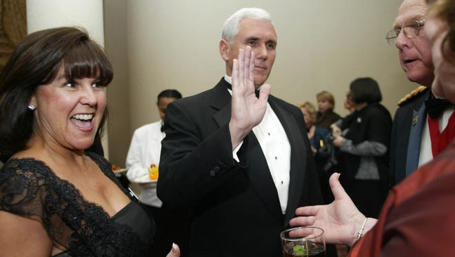 Vice President-elect Mike Pence is shown here at the Indiana Society Inaugural Ball in 2009 with his wife, Karen., in Washington on, Jan. 19, 2009. The ball was a pre-celebration for the Presidential Inauguration of Barack Obama that was held in front of the Capitol the following day.
