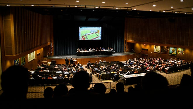 Residents and student athletes filled the Palmyra Area High School auditorium during a Palmyra Area School District board meeting where they discussed installing turf athletic fields at the Palmyra Area Middle School on Thursday, Nov. 2, 2017.