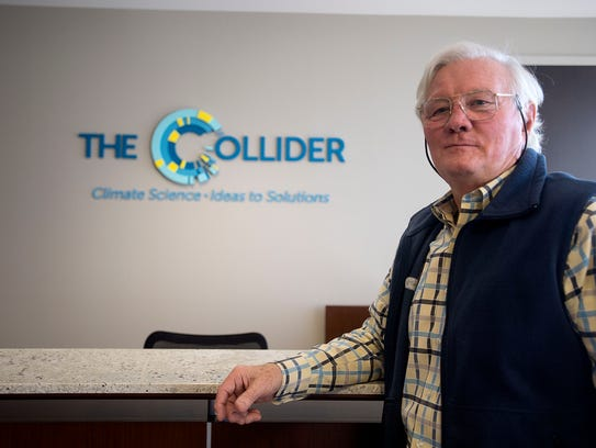 Philanthropist Mack Pearsall stands in the office of The Collider, a space for strategic solutions between science and business, located in downtown Asheville.