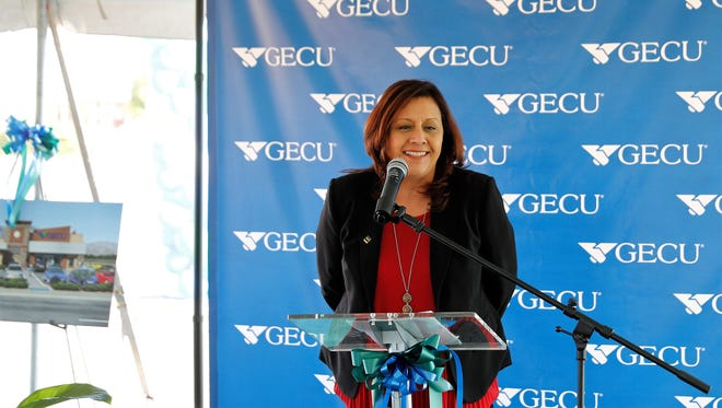 Ceci Davila, GECU's chief operations officer, speaks at a Nov. 30 groundbreaking for the El Paso credit union's 25th branch, at  9435 Dyer St., and Diana Drive, in Northeast El Paso.