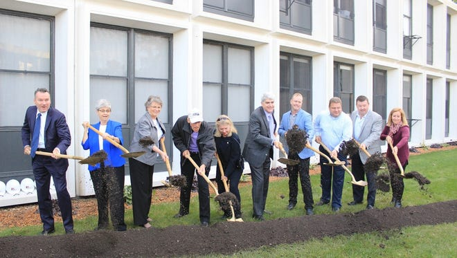 Pictured are Members of the official groundbreaking committee, from left: Tim Michels, Sr. Hertha Longo, Sr. Mary Noel Brown, Dr. Richard Ridenour, Leslie Ridenour, Dr. Andrew P.  Manion, Justin Smith, Eric Stone, Tony Ahern and Colleen O'Meara.