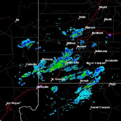 Doppler radar shows a winter weather moving through