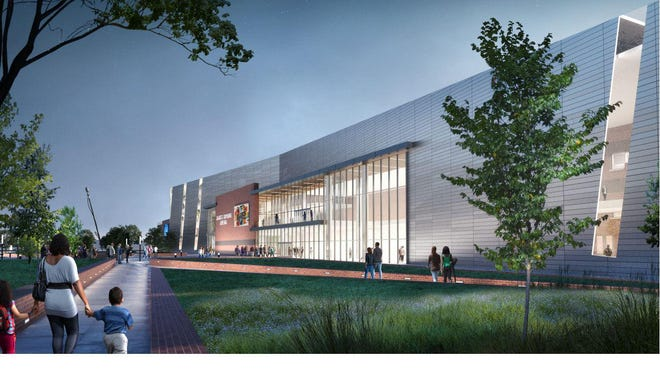 Artist's rendering of the proposed new James Brown Arena and and Bell Auditorium entertainment complex.  Images courtesy of Perkins & Will