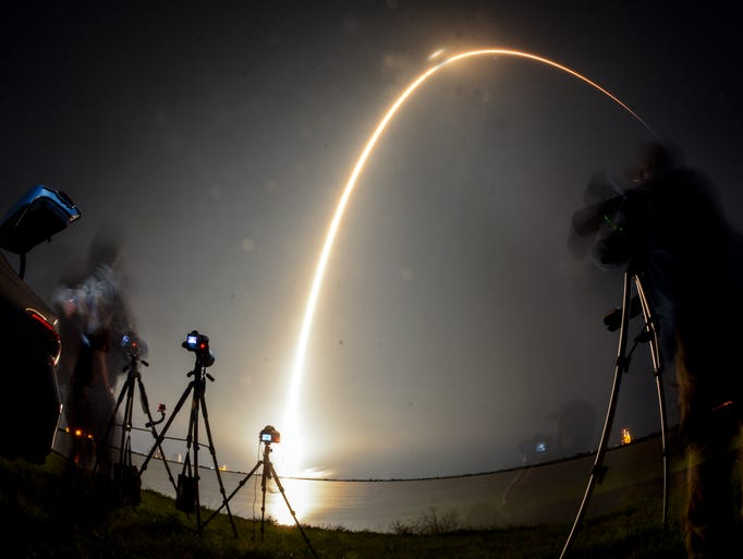 A SpaceX Falcon 9 rocket lifts off from Cape Canaveral