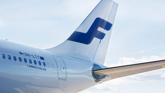 The image provided by Finnair shows the tail of one