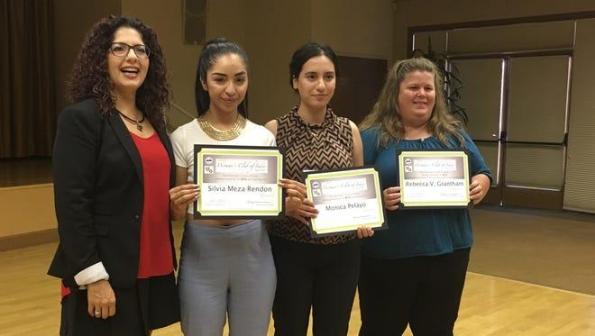 Women's Club member Gloria Franz poses with Silvia Meza-Rendon, Monica Pelayo and Rebecca Grantham, all of whom were awarded $1,000 scholarships.