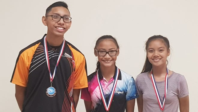 The final match of the Triple J Enterprise Guam Youth Bowler of the Month turned into a sibling rivalry as Naiyah and Noah Taimanglo competed for gold June 4, 2017. Noah Taimanglo later went up against defending champion Merygrace Hernandez in the semi-finals. Pictured, from left, is second place Noah Taimanglo, Champion Naiyah Taimanglo and third place Merygrace Hernandez.