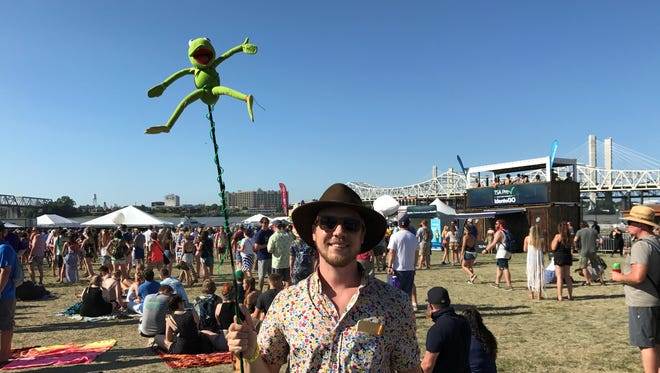 Jared Lee holds up his Kermit the Frog totem at Forecastle 2017. July 15, 2017