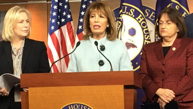 Rep. Jackie Speier, D-Calif., (center), Sen. Kirsten Gillibrand, D-N.Y., (left) and Rep. Ann McLane Kuster, D-N.H., discuss a bipartisan bill they introduced Wednesday that would require members of Congress to undergo  sexual harassment training.