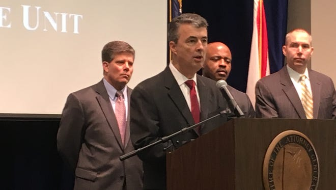 Alabama Attorney General Steve Marshall talks about the establishment of the cyber crime lab on Wednesday, Feb. 14, 2018 in Montgomery, Alabama.