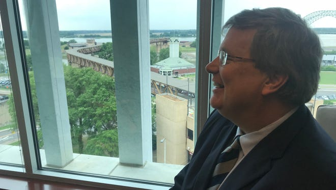 Memphis Mayor Jim Strickland says an aquarium planned for Mud Island, which is shown in the background, could bring thousands of visitors Downtown every year.