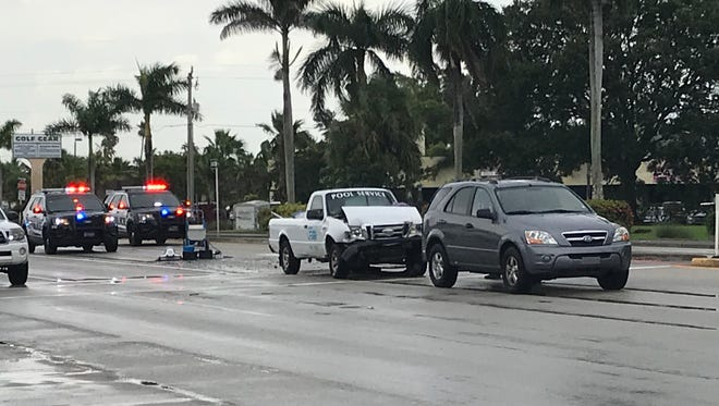 A three-car crash on Southeast Federal Highway sent one man to the hospital Monday afternoon, July 23, 2018.
