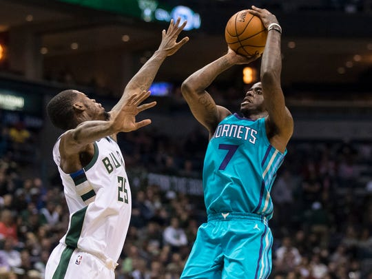 Charlotte Hornets guard Dwayne Bacon (7) is averaging nearly five points and five rebounds per game this season.