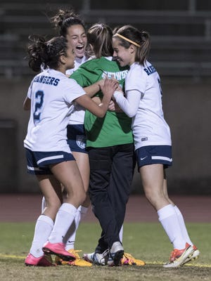 The Redwood High School girls soccer team was one of 14 squads representing Rangers' athletics that won a West Yosemite League title during the 2016-17 school year.