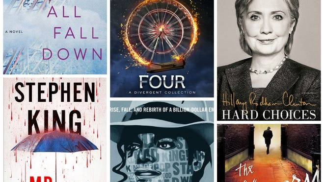 Covers of (from left) 'All Fall Down' by Jennifer Weiner, 'Mr. Mercedes' by Stephen King, 'Four: A Divergent Collection' by Veronica Roth, 'Michael Jackson, Inc.' by Zack O'Malley Greenburg, 'Hard Choices' by Hillary Rodham Clinton and 'The Silkworm' by Robert Galbraith.