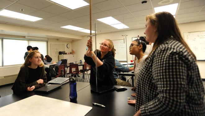 International Academy of Macomb sophomores work on a project in their MYP Physics class, Wednesday, May 9, 2018, in Clinton Township, Mich.