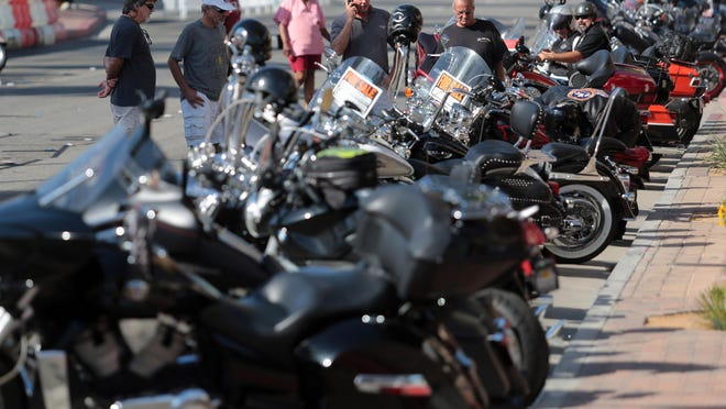 Bikers rolled into downtown Palm Springs for the annual American Heat Motorcycle Rally in October 2014. PS Resorts, a non-profit charged with growing the city's tourism, is not supporting the event in 2015 out of concerns for safety.